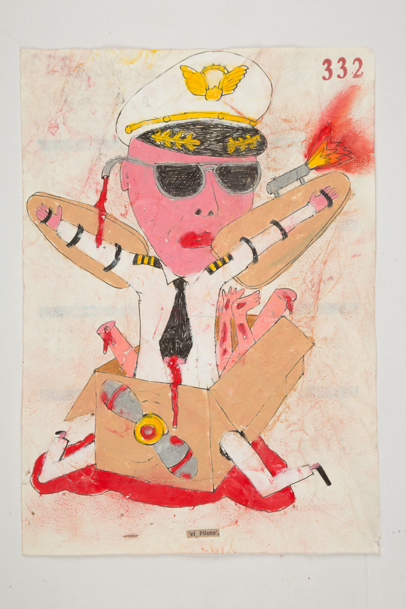 Camilo Restrepo. <em>Piloto</em>, 2021. Water-soluble wax pastel, ink, tape and saliva on paper 11 3/4 x 8 1/4 inches (29.8 x 21 cm)