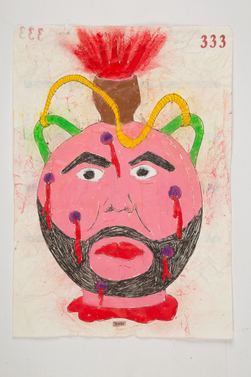 Camilo Restrepo. <em>Botija</em>, 2021. Water-soluble wax pastel, ink, tape and saliva on paper 11 3/4 x 8 1/4 inches (29.8 x 21 cm)