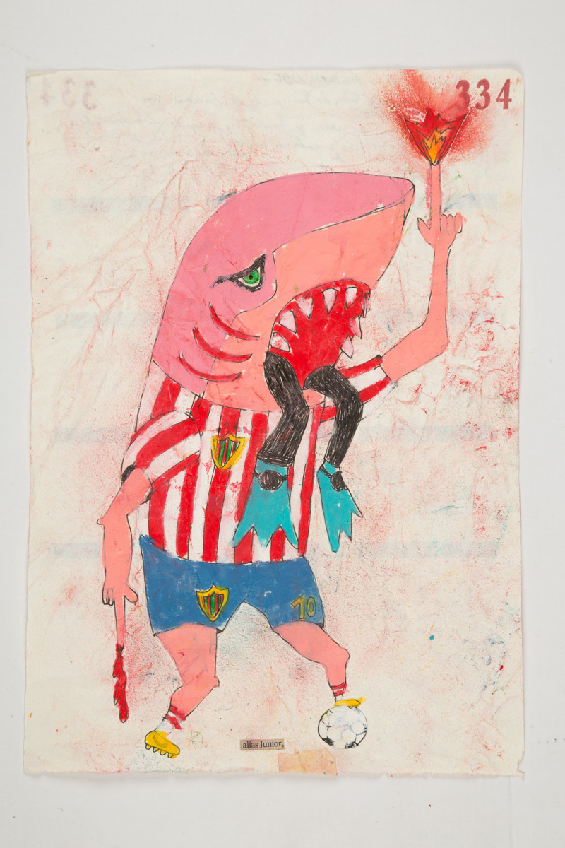 Camilo Restrepo. <em>Junior</em>, 2021. Water-soluble wax pastel, ink, tape and saliva on paper 11 3/4 x 8 1/4 inches (29.8 x 21 cm)