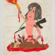 Camilo Restrepo. <em>Selva</em>, 2021. Water-soluble wax pastel, ink, tape and saliva on paper 11 3/4 x 8 1/4 inches (29.8 x 21 cm) thumbnail