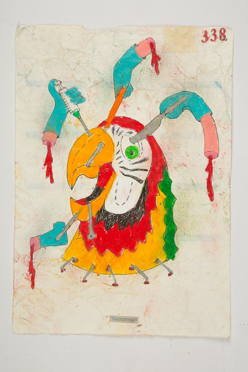 Camilo Restrepo. <em>Guacamayo</em>, 2021. Water-soluble wax pastel, ink, tape and saliva on paper 11 3/4 x 8 1/4 inches (29.8 x 21 cm)