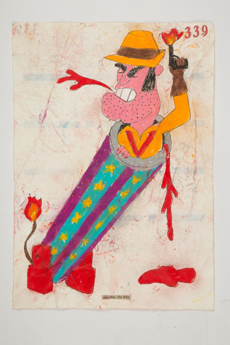 Camilo Restrepo. <em>Martìn Bala</em>, 2021. Water-soluble wax pastel, ink, tape and saliva on paper 11 3/4 x 8 1/4 inches (29.8 x 21 cm)