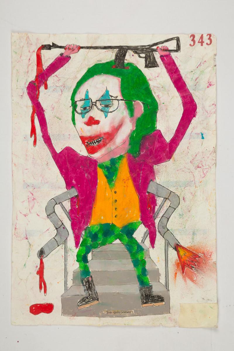 Camilo Restrepo. <em>Joaquìn Gòmez</em>, 2021. Water-soluble wax pastel, ink, tape and saliva on paper 11 3/4 x 8 1/4 inches (29.8 x 21 cm)