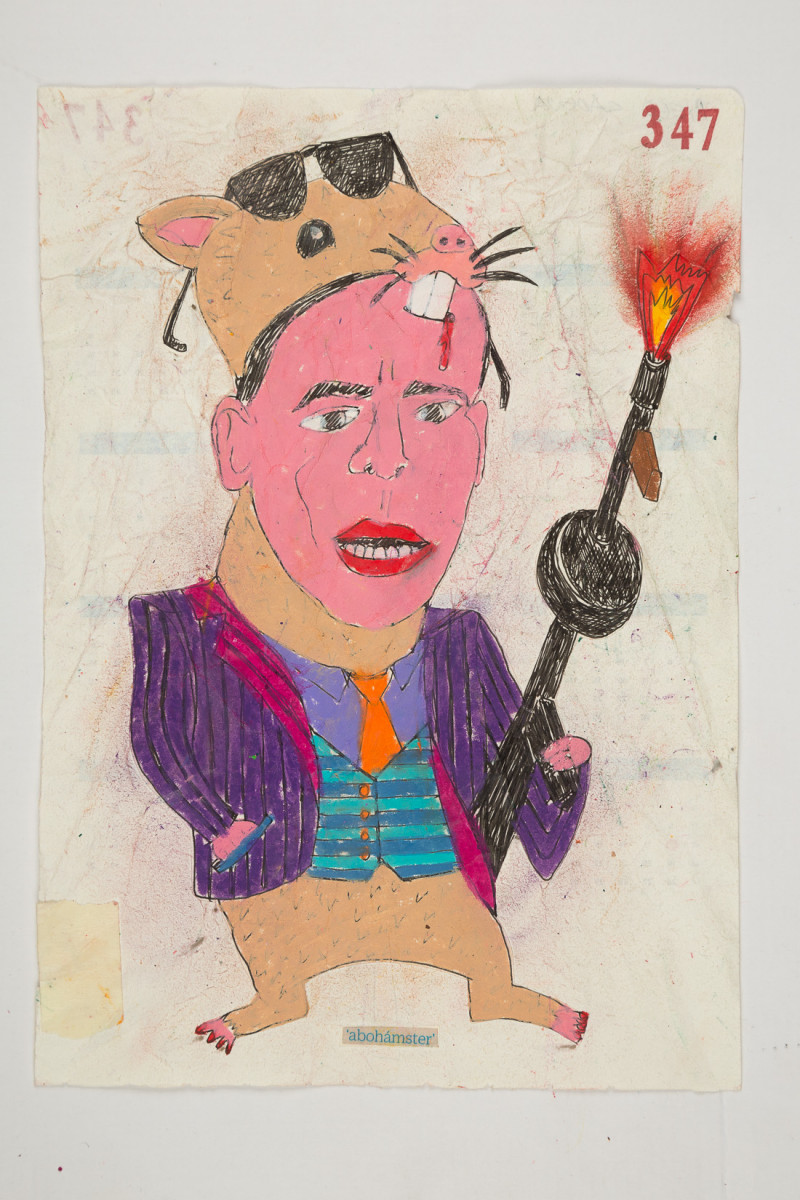 Camilo Restrepo. <em>Abohàmster</em>, 2021. Water-soluble wax pastel, ink, tape and saliva on paper 11 3/4 x 8 1/4 inches (29.8 x 21 cm)