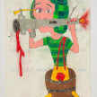 Camilo Restrepo. <em>Chavo</em>, 2021. Water-soluble wax pastel, ink, tape and saliva on paper 11 3/4 x 8 1/4 inches (29.8 x 21 cm) thumbnail