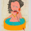 Camilo Restrepo. <em>Hombre del Jacuzzi</em>, 2021. Water-soluble wax pastel, ink, tape and saliva on paper 11 3/4 x 8 1/4 inches (29.8 x 21 cm) thumbnail