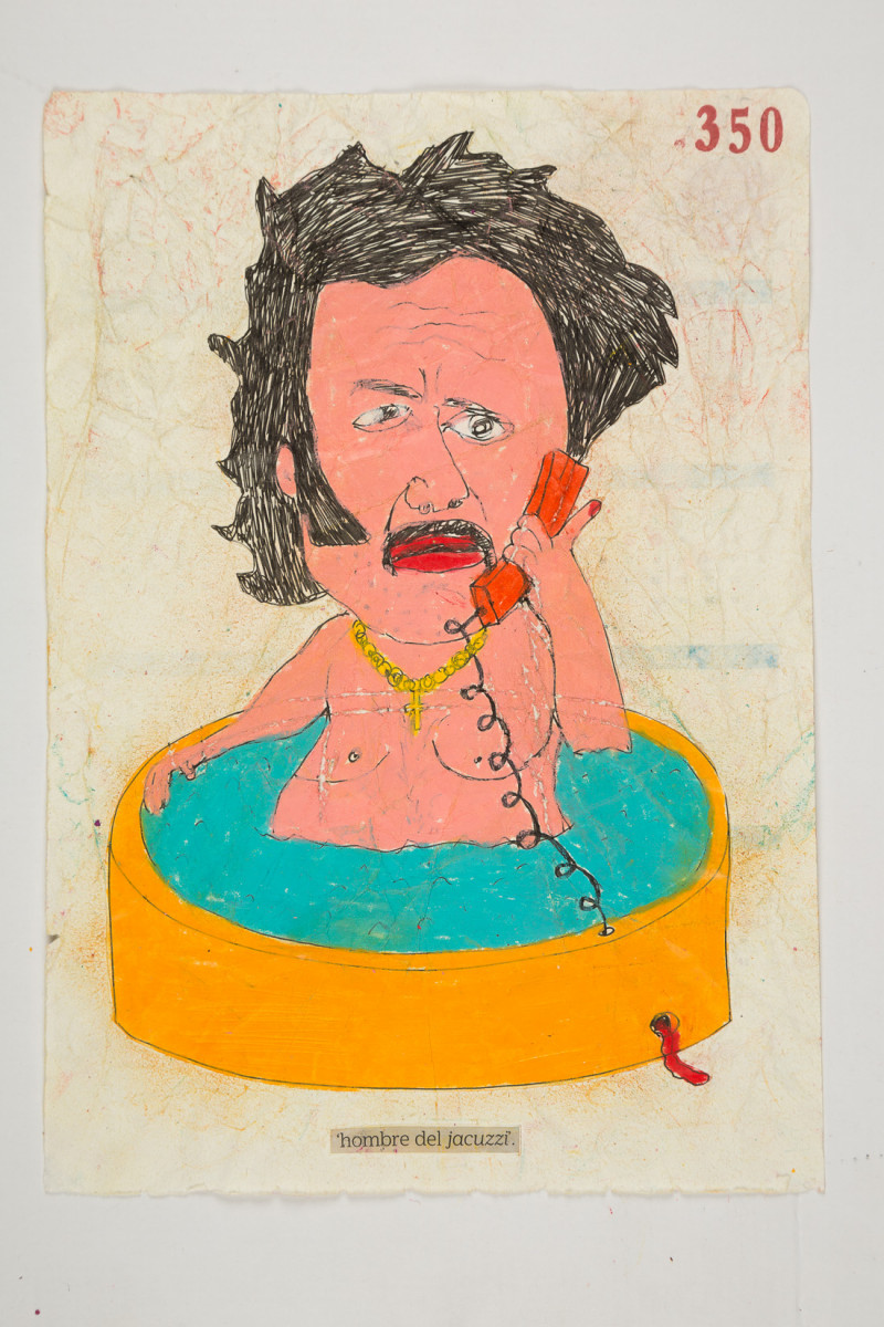 Camilo Restrepo. <em>Hombre del Jacuzzi</em>, 2021. Water-soluble wax pastel, ink, tape and saliva on paper 11 3/4 x 8 1/4 inches (29.8 x 21 cm)