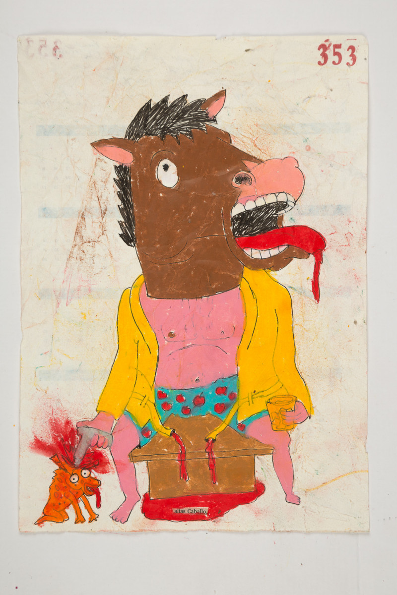 Camilo Restrepo. <em>Caballo</em>, 2021. Water-soluble wax pastel, ink, tape and saliva on paper 11 3/4 x 8 1/4 inches (29.8 x 21 cm)