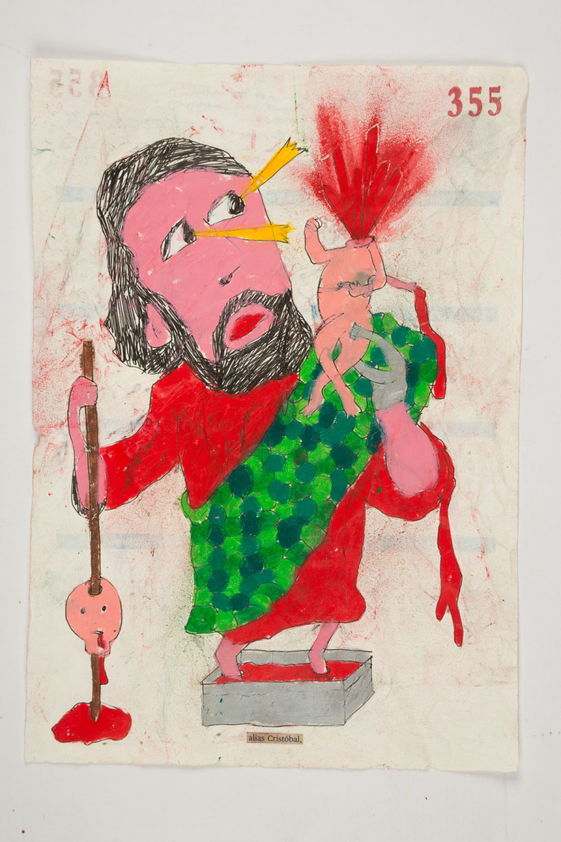 Camilo Restrepo. <em>Cristobal</em>, 2021. Water-soluble wax pastel, ink, tape and saliva on paper 11 3/4 x 8 1/4 inches (29.8 x 21 cm)