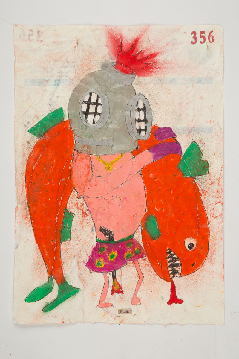 Camilo Restrepo. <em>Piraña</em>, 2021. Water-soluble wax pastel, ink, tape and saliva on paper 11 3/4 x 8 1/4 inches (29.8 x 21 cm)