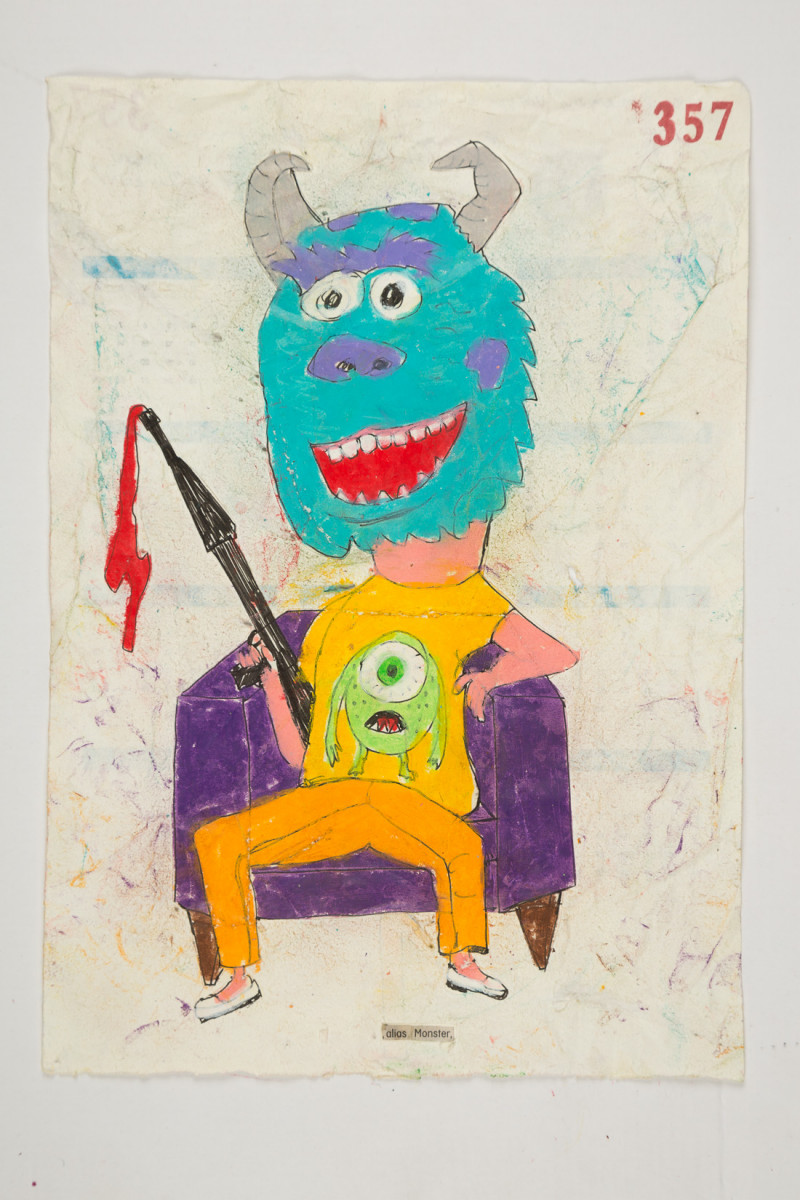 Camilo Restrepo. <em>Monster</em>, 2021. Water-soluble wax pastel, ink, tape and saliva on paper 11 3/4 x 8 1/4 inches (29.8 x 21 cm)