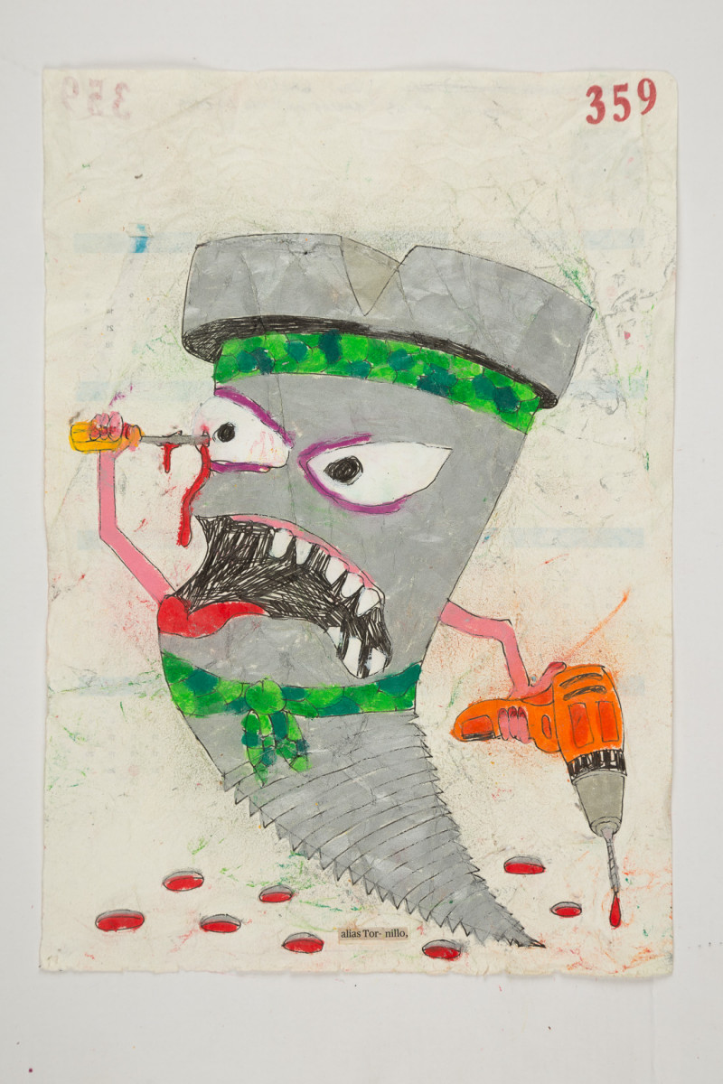 Camilo Restrepo. <em>Tornillo</em>, 2021. Water-soluble wax pastel, ink, tape and saliva on paper 11 3/4 x 8 1/4 inches (29.8 x 21 cm)