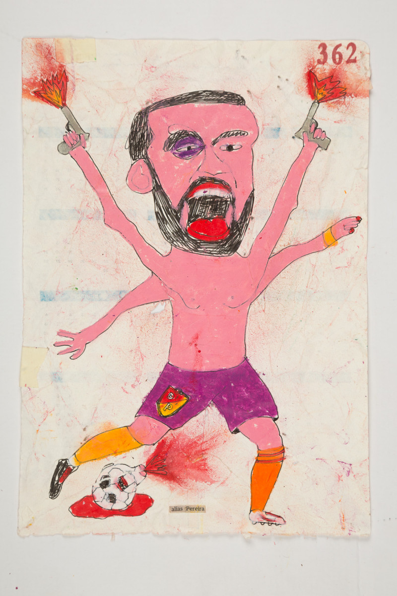 Camilo Restrepo. <em>Pereira</em>, 2021. Water-soluble wax pastel, ink, tape and saliva on paper 11 3/4 x 8 1/4 inches (29.8 x 21 cm)