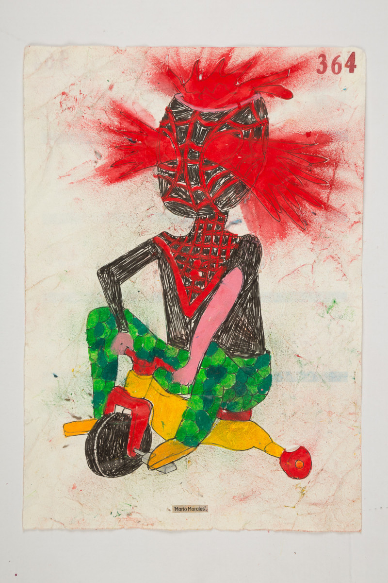 Camilo Restrepo. <em>Mario Morales</em>, 2021. Water-soluble wax pastel, ink, tape and saliva on paper 11 3/4 x 8 1/4 inches (29.8 x 21 cm)
