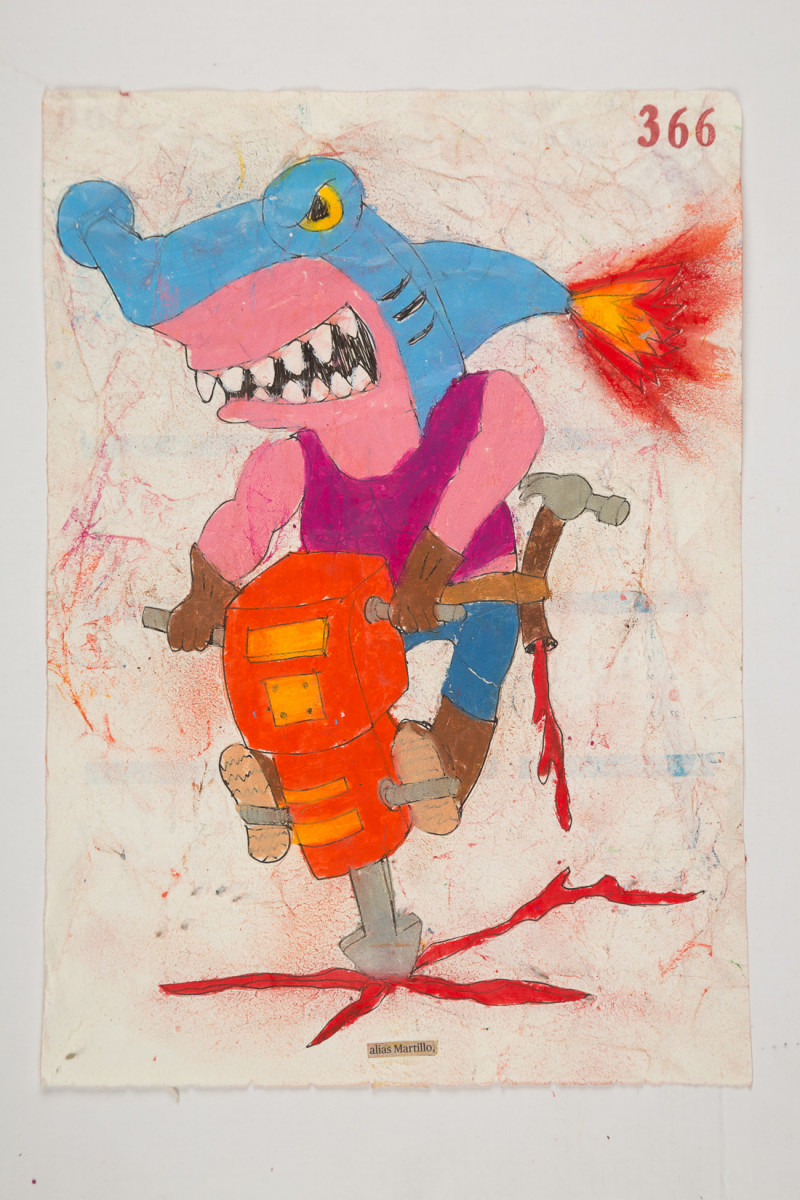 Camilo Restrepo. <em>Martillo</em>, 2021. Water-soluble wax pastel, ink, tape and saliva on paper 11 3/4 x 8 1/4 inches (29.8 x 21 cm)