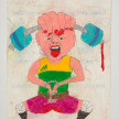 Camilo Restrepo. <em>Arley</em>, 2021. Water-soluble wax pastel, ink, tape and saliva on paper 11 3/4 x 8 1/4 inches (29.8 x 21 cm) thumbnail