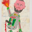 Camilo Restrepo. <em>Arturo</em>, 2021. Water-soluble wax pastel, ink, tape and saliva on paper 11 3/4 x 8 1/4 inches (29.8 x 21 cm) thumbnail