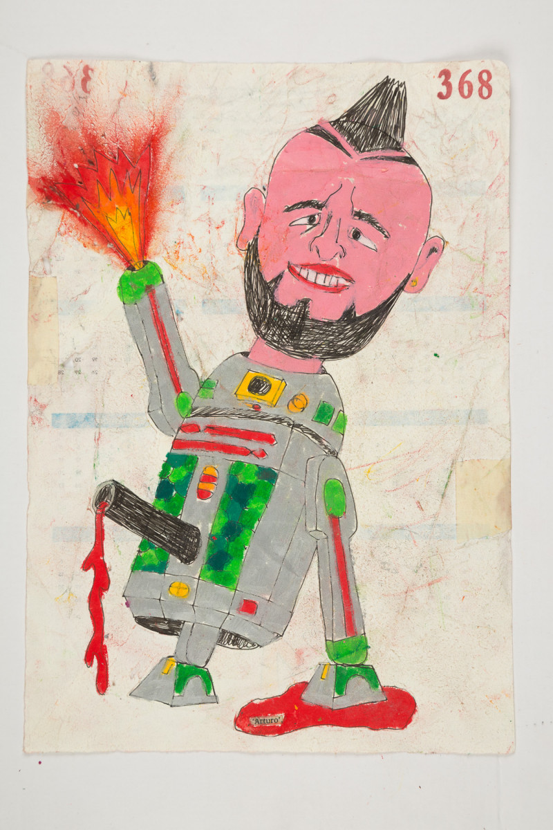 Camilo Restrepo. <em>Arturo</em>, 2021. Water-soluble wax pastel, ink, tape and saliva on paper 11 3/4 x 8 1/4 inches (29.8 x 21 cm)