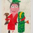 Camilo Restrepo. <em>Sandra Ramìrez</em>, 2021. Water-soluble wax pastel, ink, tape and saliva on paper 11 3/4 x 8 1/4 inches (29.8 x 21 cm) thumbnail