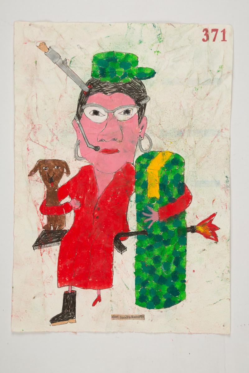 Camilo Restrepo. <em>Sandra Ramìrez</em>, 2021. Water-soluble wax pastel, ink, tape and saliva on paper 11 3/4 x 8 1/4 inches (29.8 x 21 cm)