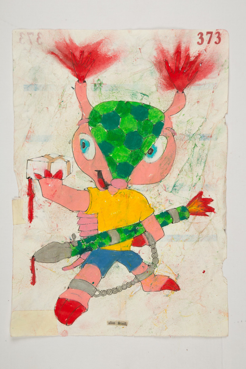 Camilo Restrepo. <em>Brasil</em>, 2021. Water-soluble wax pastel, ink, tape and saliva on paper 11 3/4 x 8 1/4 inches (29.8 x 21 cm)
