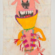 Camilo Restrepo. <em>Perra</em>, 2021. Water-soluble wax pastel, ink, tape and saliva on paper 11 3/4 x 8 1/4 inches (29.8 x 21 cm) thumbnail