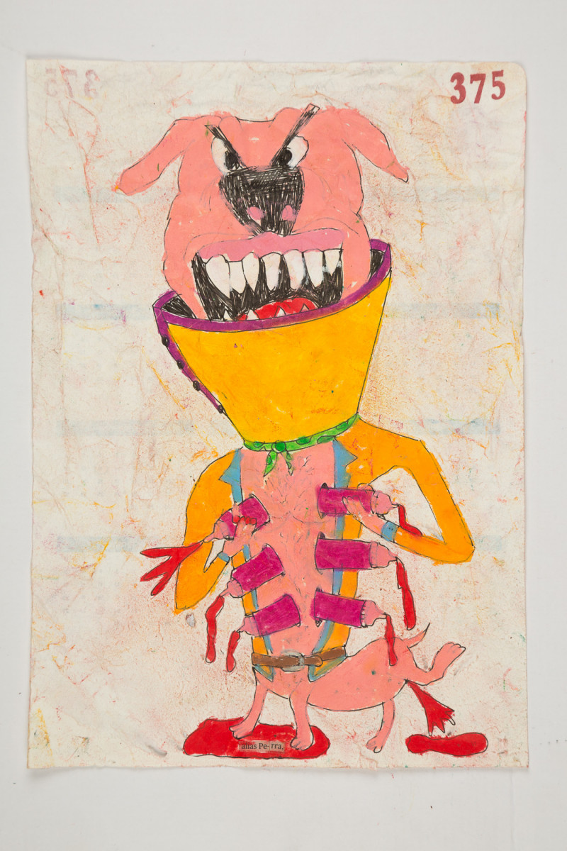 Camilo Restrepo. <em>Perra</em>, 2021. Water-soluble wax pastel, ink, tape and saliva on paper 11 3/4 x 8 1/4 inches (29.8 x 21 cm)