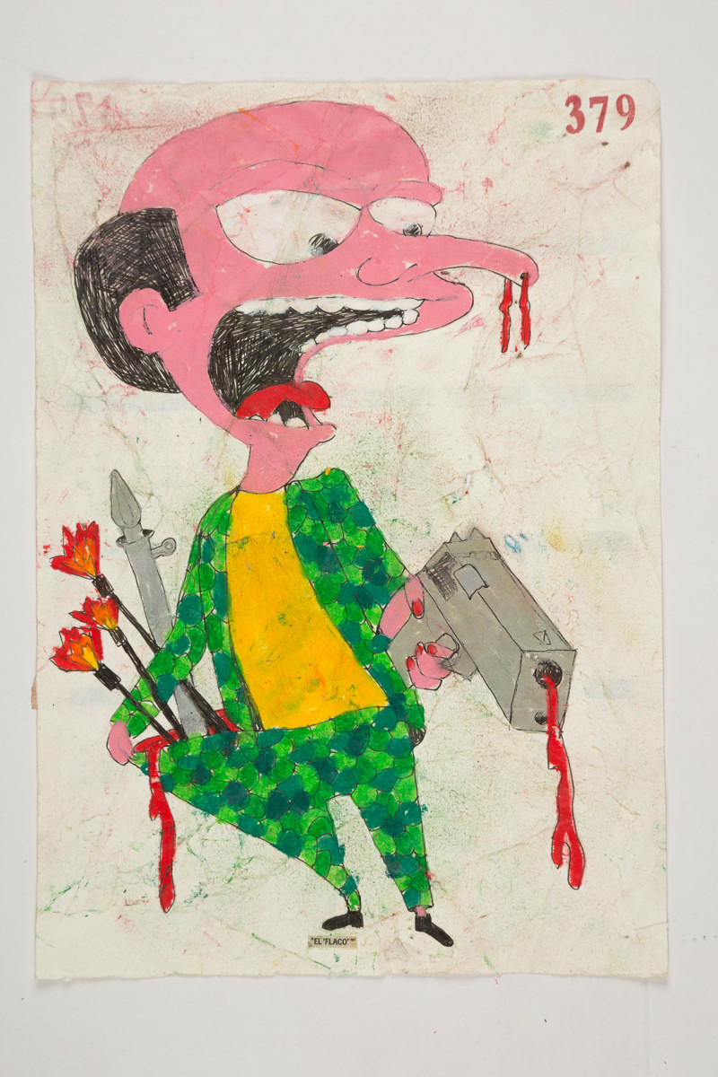Camilo Restrepo. <em>Flaco</em>, 2021. Water-soluble wax pastel, ink, tape and saliva on paper 11 3/4 x 8 1/4 inches (29.8 x 21 cm)