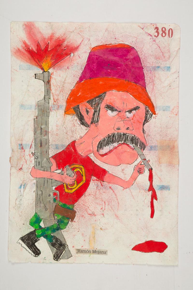 Camilo Restrepo. <em>Ramòn Mojana</em>, 2021. Water-soluble wax pastel, ink, tape and saliva on paper 11 3/4 x 8 1/4 inches (29.8 x 21 cm)