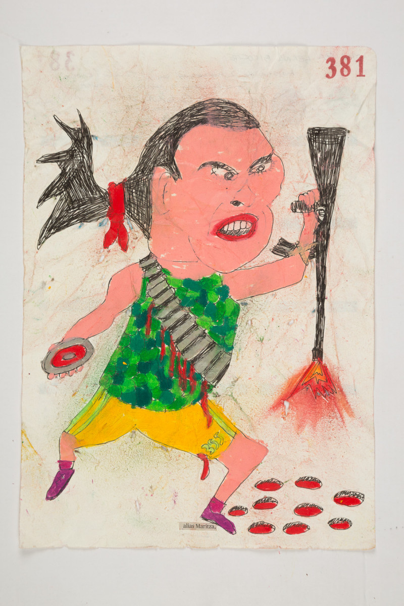 Camilo Restrepo. <em>Maritza</em>, 2021. Water-soluble wax pastel, ink, tape and saliva on paper 11 3/4 x 8 1/4 inches (29.8 x 21 cm)