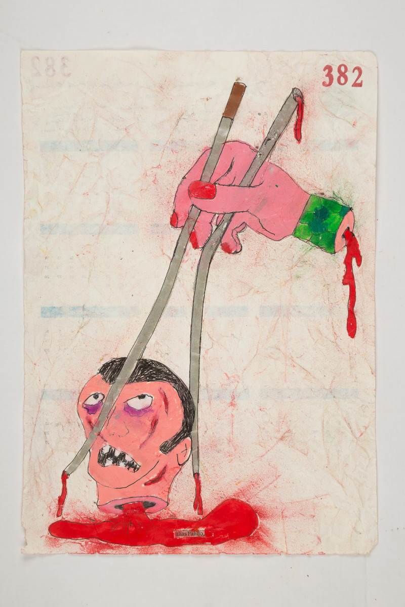 Camilo Restrepo. <em>Palillo</em>, 2021. Water-soluble wax pastel, ink, tape and saliva on paper 11 3/4 x 8 1/4 inches (29.8 x 21 cm)