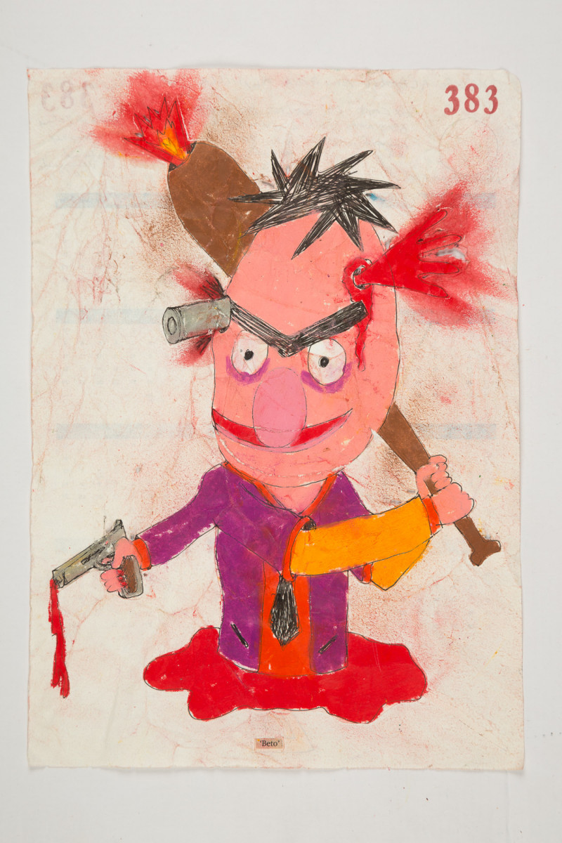 Camilo Restrepo. <em>Beto</em>, 2021. Water-soluble wax pastel, ink, tape and saliva on paper 11 3/4 x 8 1/4 inches (29.8 x 21 cm)