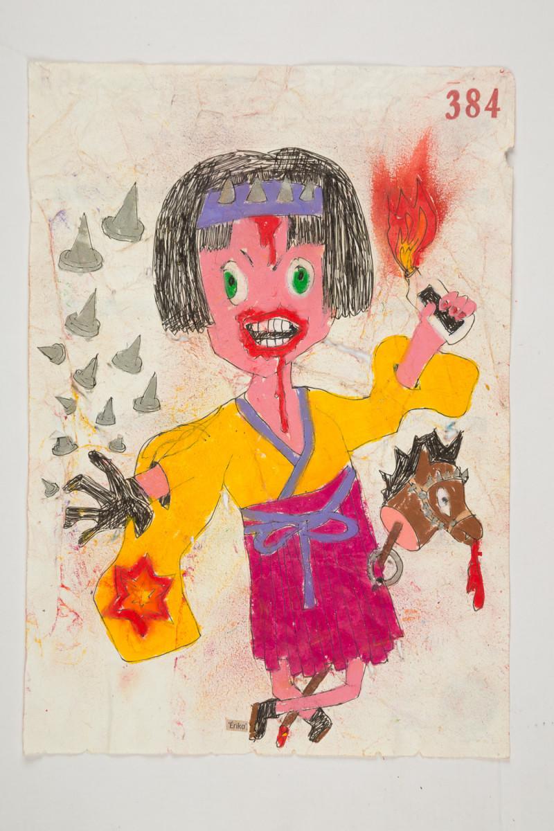 Camilo Restrepo. <em>Èrika</em>, 2021. Water-soluble wax pastel, ink, tape and saliva on paper 11 3/4 x 8 1/4 inches (29.8 x 21 cm)