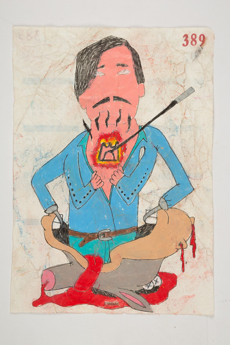 Camilo Restrepo. <em>Ahijado</em>, 2021. Water-soluble wax pastel, ink, tape and saliva on paper 11 3/4 x 8 1/4 inches (29.8 x 21 cm)