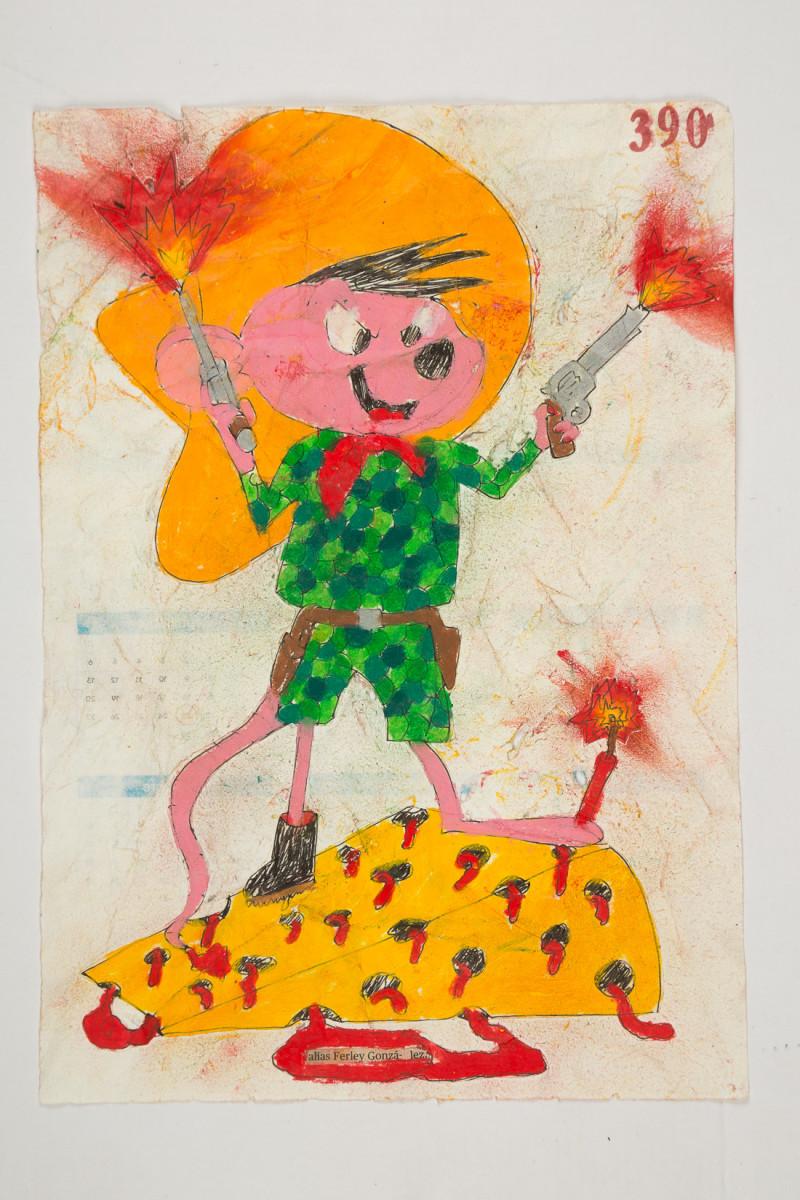 Camilo Restrepo. <em>Ferley Gonzàlez</em>, 2021. Water-soluble wax pastel, ink, tape and saliva on paper 11 3/4 x 8 1/4 inches (29.8 x 21 cm)