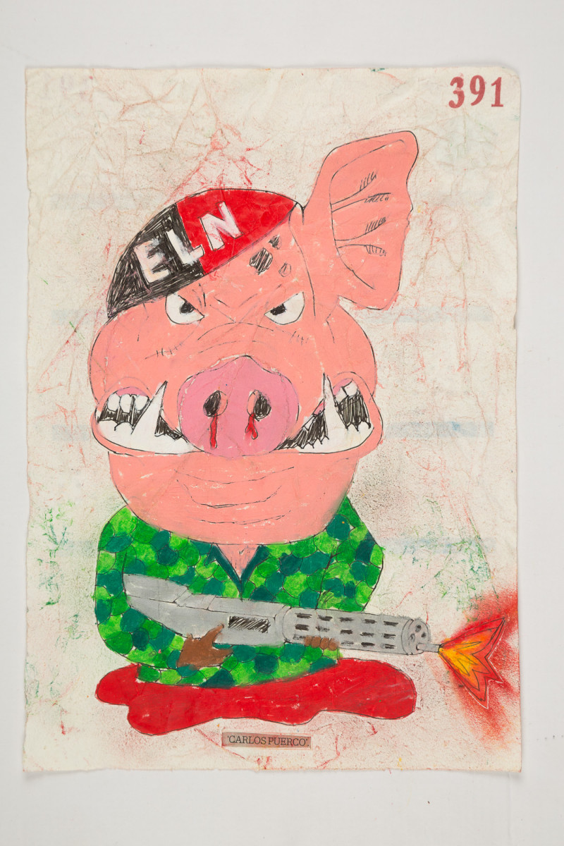 Camilo Restrepo. <em>Carlos Puerco</em>, 2021. Water-soluble wax pastel, ink, tape and saliva on paper 11 3/4 x 8 1/4 inches (29.8 x 21 cm)