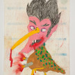 Camilo Restrepo. <em>Chocha</em>, 2021. Water-soluble wax pastel, ink, tape and saliva on paper 11 3/4 x 8 1/4 inches (29.8 x 21 cm) thumbnail