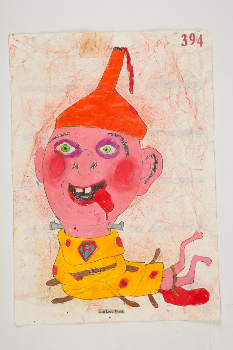 Camilo Restrepo. <em>Loco Frank</em>, 2021. Water-soluble wax pastel, ink, tape and saliva on paper 11 3/4 x 8 1/4 inches (29.8 x 21 cm)