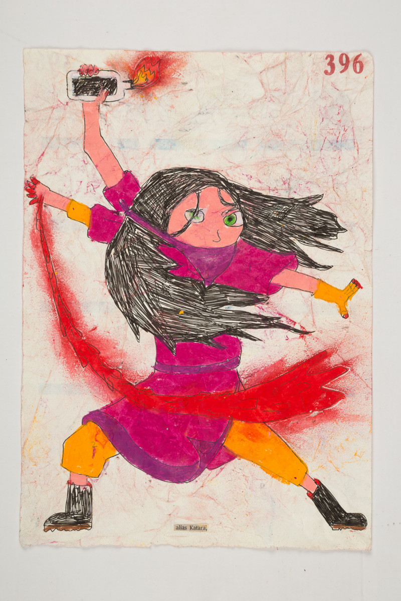 Camilo Restrepo. <em>Katara</em>, 2021. Water-soluble wax pastel, ink, tape and saliva on paper 11 3/4 x 8 1/4 inches (29.8 x 21 cm)