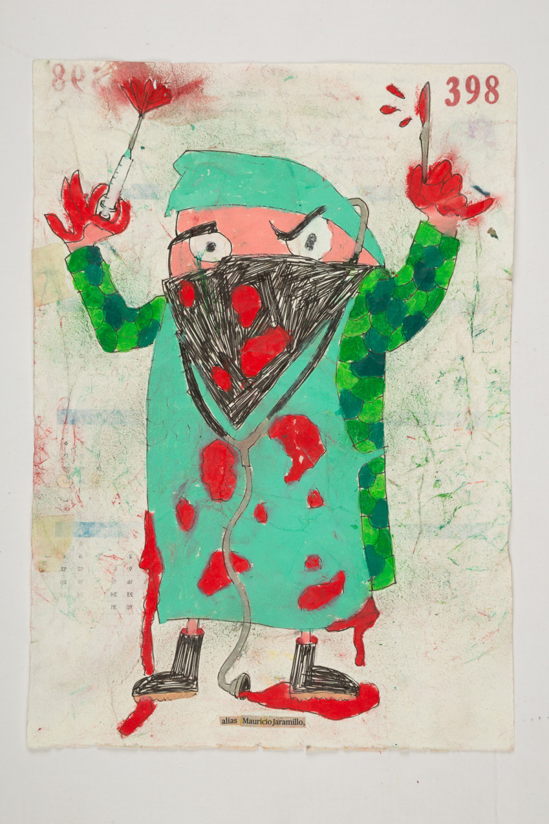 Camilo Restrepo. <em>Mauricio Jaramillo</em>, 2021. Water-soluble wax pastel, ink, tape and saliva on paper 11 3/4 x 8 1/4 inches (29.8 x 21 cm)