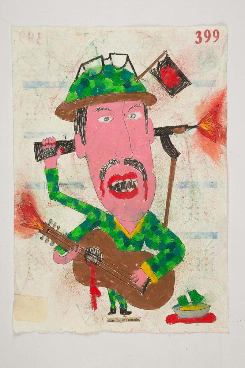 Camilo Restrepo. <em>Juliàn Conrado</em>, 2021. Water-soluble wax pastel, ink, tape and saliva on paper 11 3/4 x 8 1/4 inches (29.8 x 21 cm)