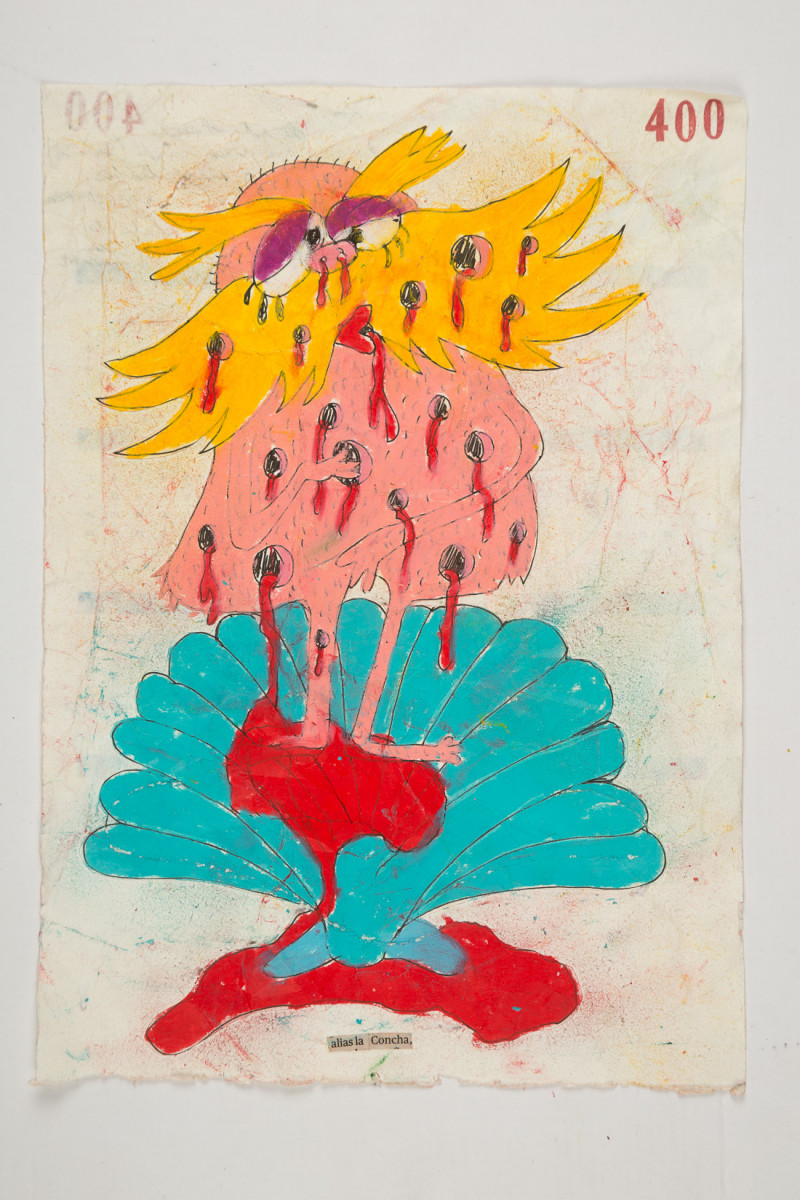 Camilo Restrepo. <em>Concha</em>, 2021. Water-soluble wax pastel, ink, tape and saliva on paper 11 3/4 x 8 1/4 inches (29.8 x 21 cm)