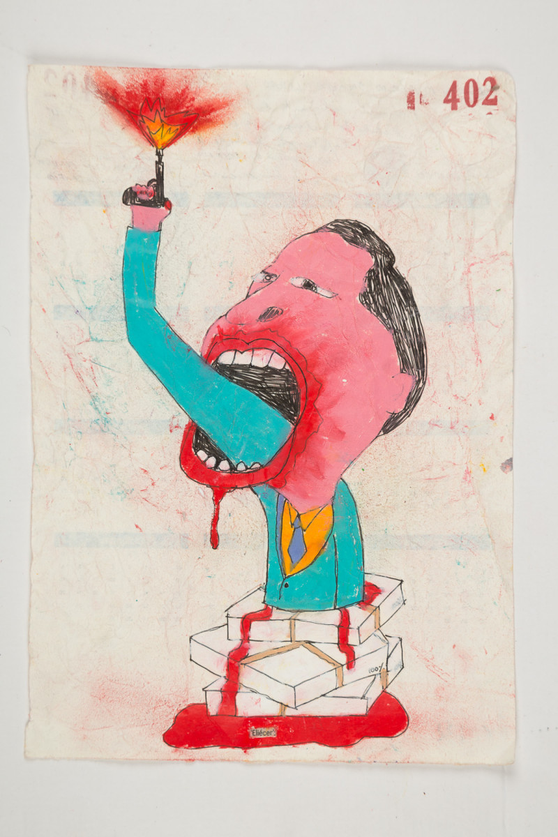 Camilo Restrepo. <em>Eliècer</em>, 2021. Water-soluble wax pastel, ink, tape and saliva on paper 11 3/4 x 8 1/4 inches (29.8 x 21 cm)