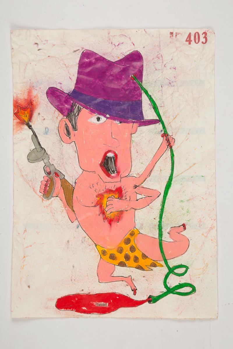 Camilo Restrepo. <em>Tarzàn</em>, 2021. Water-soluble wax pastel, ink, tape and saliva on paper 11 3/4 x 8 1/4 inches (29.8 x 21 cm)