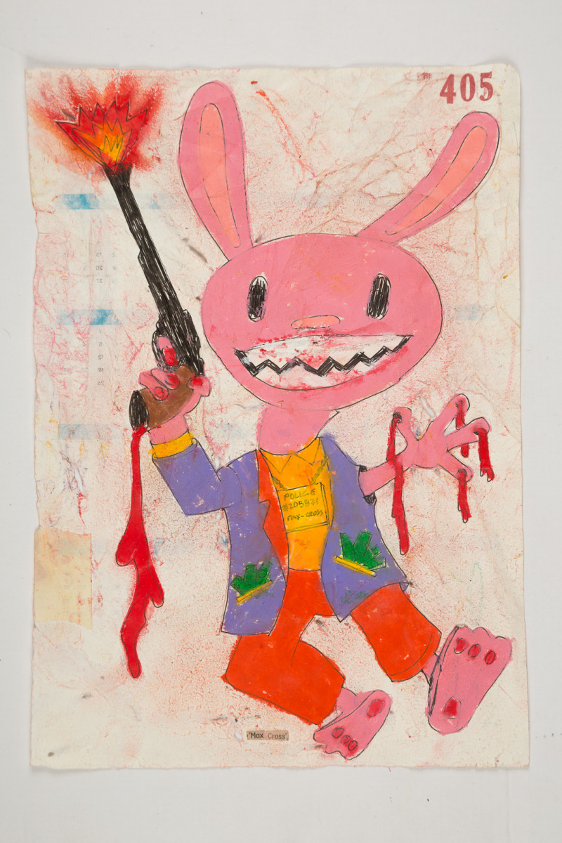 Camilo Restrepo. <em>Max Cross</em>, 2021. Water-soluble wax pastel, ink, tape and saliva on paper 11 3/4 x 8 1/4 inches (29.8 x 21 cm)