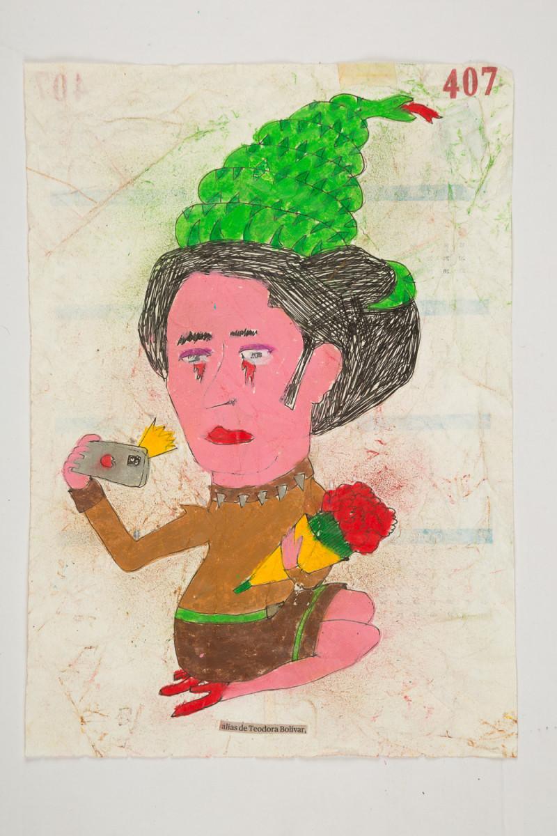 Camilo Restrepo. <em>Teodora Bolìvar</em>, 2021. Water-soluble wax pastel, ink, tape and saliva on paper 11 3/4 x 8 1/4 inches (29.8 x 21 cm)