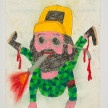 Camilo Restrepo. <em>Chenco (Chencho)</em>, 2021. Water-soluble wax pastel, ink, tape and saliva on paper 11 3/4 x 8 1/4 inches (29.8 x 21 cm) thumbnail