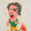 Camilo Restrepo. <em>Martìn el Tuerto</em>, 2021. Water-soluble wax pastel, ink, tape and saliva on paper 11 3/4 x 8 1/4 inches (29.8 x 21 cm) thumbnail
