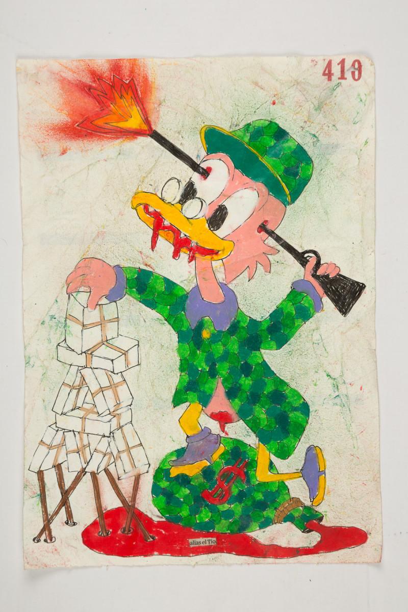 Camilo Restrepo. <em>Tìo</em>, 2021. Water-soluble wax pastel, ink, tape and saliva on paper 11 3/4 x 8 1/4 inches (29.8 x 21 cm)