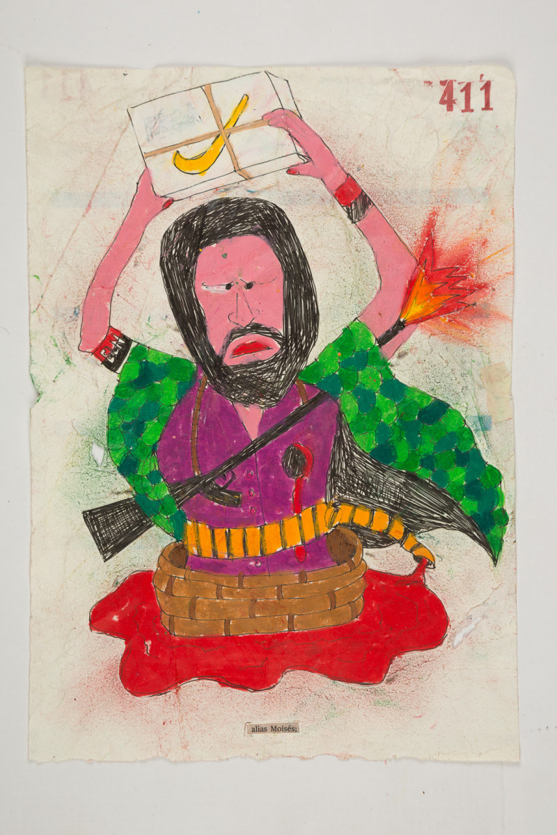Camilo Restrepo. <em>Moisès</em>, 2021. Water-soluble wax pastel, ink, tape and saliva on paper 11 3/4 x 8 1/4 inches (29.8 x 21 cm)